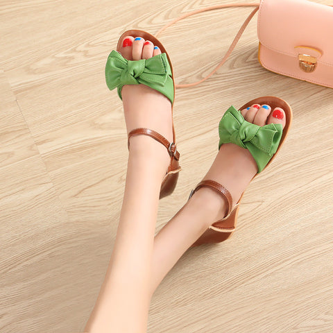 PU Mixed Color Open Toe Flat Heel Metal Buckle Belt Bowtie Sandals 8.5 Green