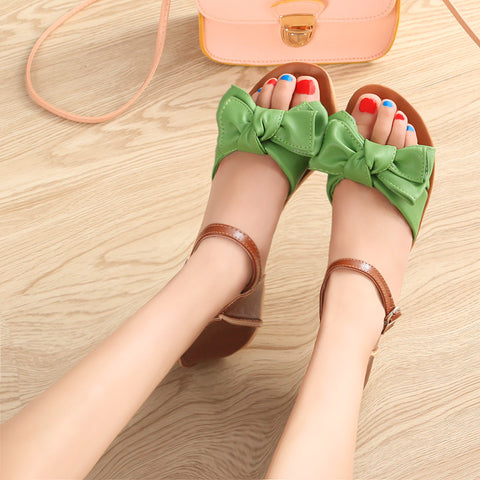 PU Mixed Color Open Toe Flat Heel Metal Buckle Belt Bowtie Sandals 9 Green