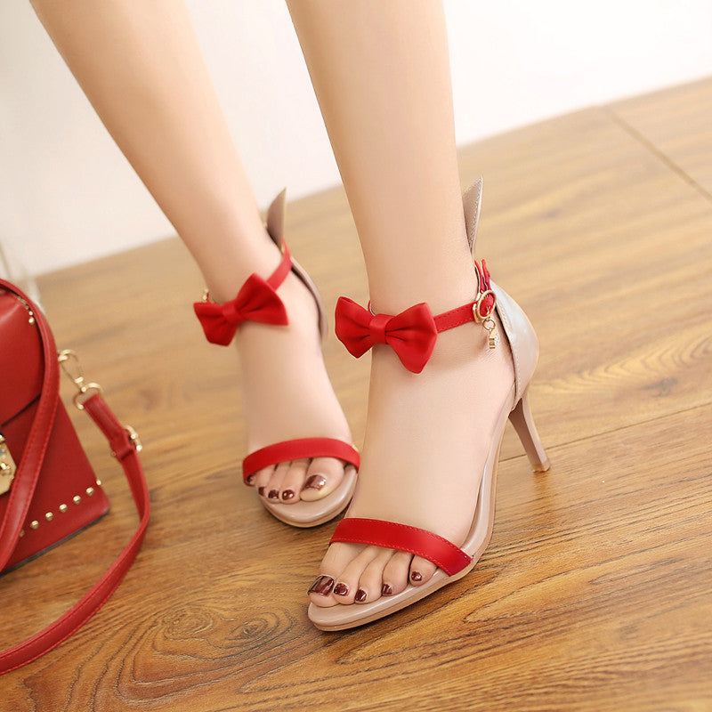 PU Mixed Color Open Toe Kitten Heel Bowtie Ankle Strap Sandals 9.5 Red