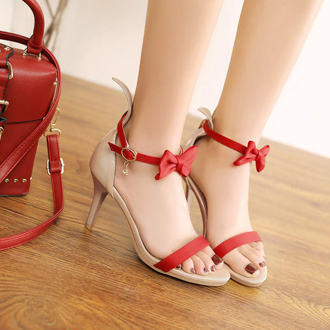 PU Mixed Color Open Toe Kitten Heel Bowtie Ankle Strap Sandals 9 Red