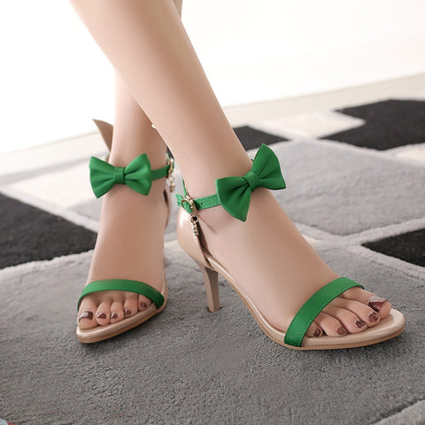PU Mixed Color Open Toe Kitten Heel Bowtie Ankle Strap Sandals 9.5 Green