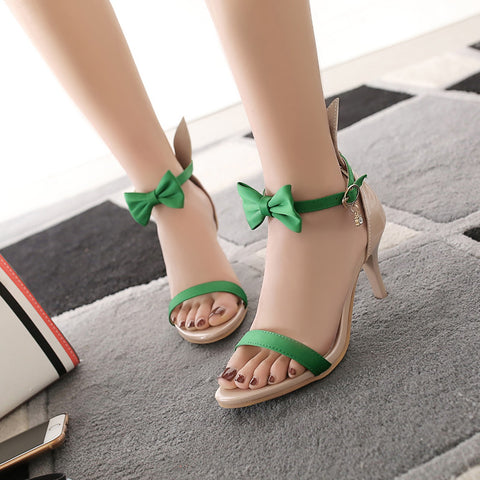 PU Mixed Color Open Toe Kitten Heel Bowtie Ankle Strap Sandals 9 Green