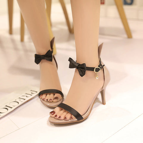 PU Mixed Color Open Toe Kitten Heel Bowtie Ankle Strap Sandals 9.5 Black