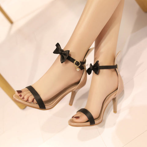 PU Mixed Color Open Toe Kitten Heel Bowtie Ankle Strap Sandals 9 Black
