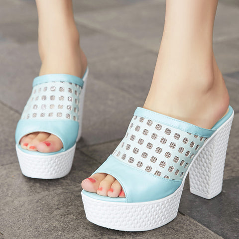 PU Peep Toe High Block Heel Hollow Carved Mesh Mules 7 Blue