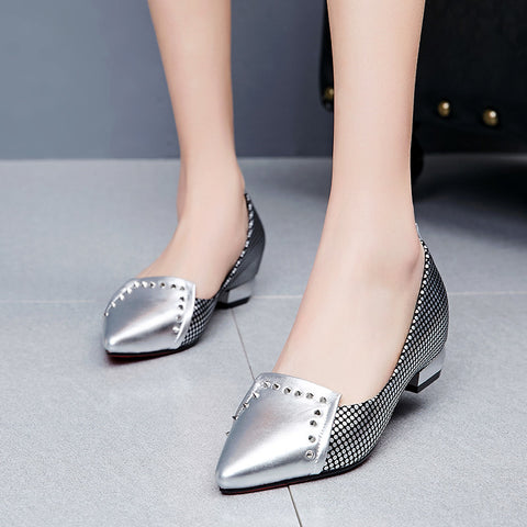 PU Mixed Color Pointy Toe Hidden Heel Rivet Plaid Loafers 6.5 Silver