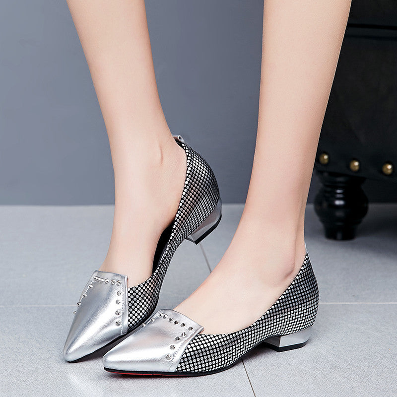 PU Mixed Color Pointy Toe Hidden Heel Rivet Plaid Loafers 7.5 Silver