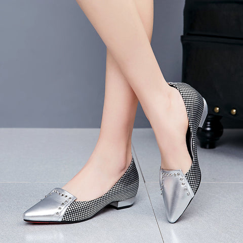 PU Mixed Color Pointy Toe Hidden Heel Rivet Plaid Loafers 6 Silver