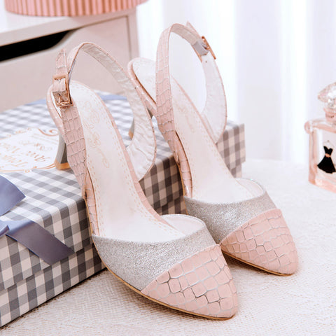 PU Mixed Color Pointy Toe Kitten Heel Plaid Lines Slingback Sandals 9.5 Pink