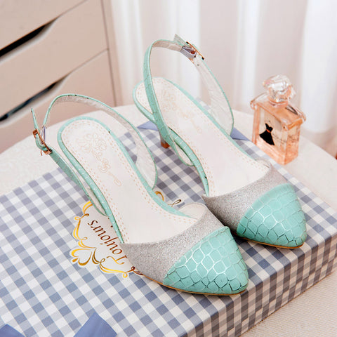 PU Mixed Color Pointy Toe Kitten Heel Plaid Lines Slingback Sandals 9.5 Blue