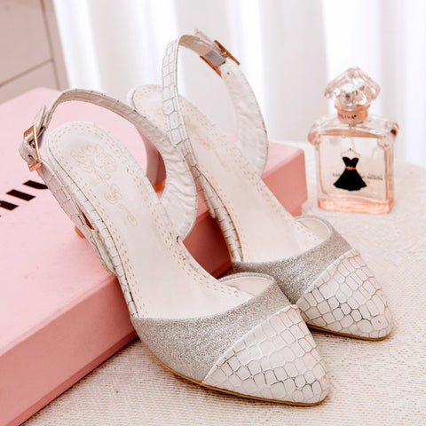 PU Mixed Color Pointy Toe Kitten Heel Plaid Lines Slingback Sandals 9.5 White