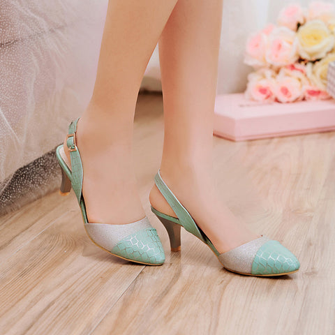PU Mixed Color Pointy Toe Kitten Heel Plaid Lines Slingback Sandals 9 Blue