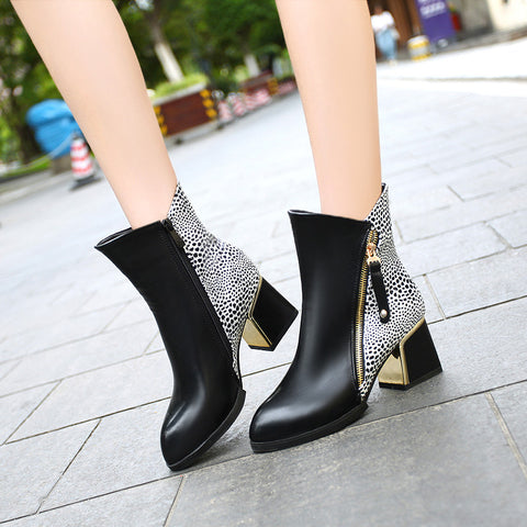 PU Mixed Color Pointy Toe Metal Embellished Block Heel Side Zipper Ankle Boots 9.5 Black