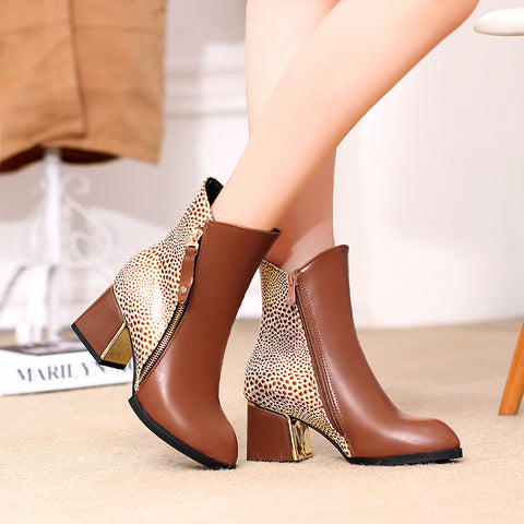 PU Mixed Color Pointy Toe Metal Embellished Block Heel Side Zipper Ankle Boots 9.5 Bronze