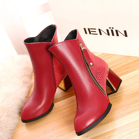 PU Mixed Color Pointy Toe Metal Embellished Block Heel Side Zipper Ankle Boots 9 Red