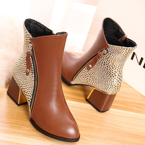 PU Mixed Color Pointy Toe Metal Embellished Block Heel Side Zipper Ankle Boots 9 Bronze