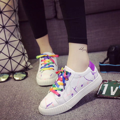 PU Mixed Color Round Toe Flat Heel Doodles Lace Up Sneakers 7 Purple