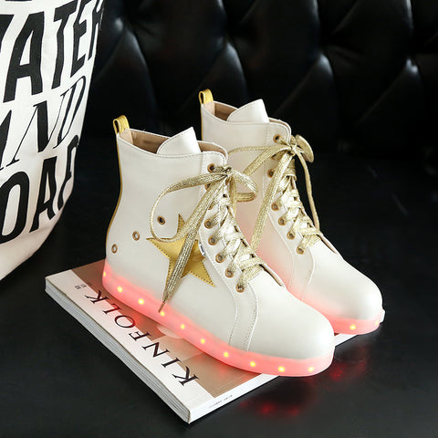 PU Round Toe Flat Heel Lace Up 7 Colors Led Light Sneakers With Star And Buttonholes 9.5 White