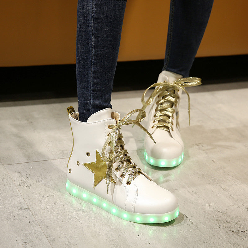 PU Round Toe Flat Heel Lace Up 7 Colors Led Light Sneakers With Star And Buttonholes 8.5 White