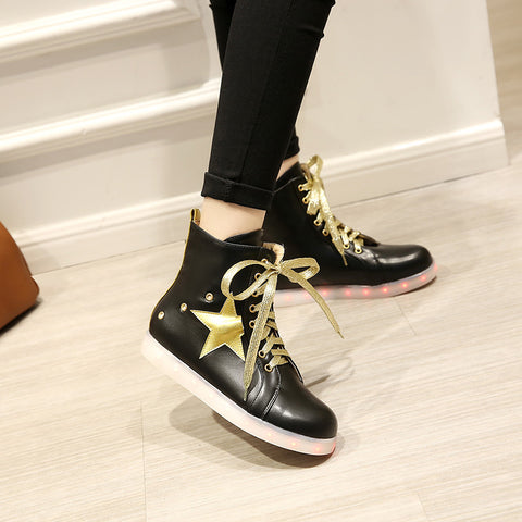 PU Round Toe Flat Heel Lace Up 7 Colors Led Light Sneakers With Star And Buttonholes 9 Black