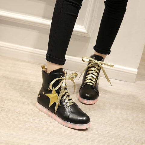 PU Round Toe Flat Heel Lace Up 7 Colors Led Light Sneakers With Star And Buttonholes 8.5 Black