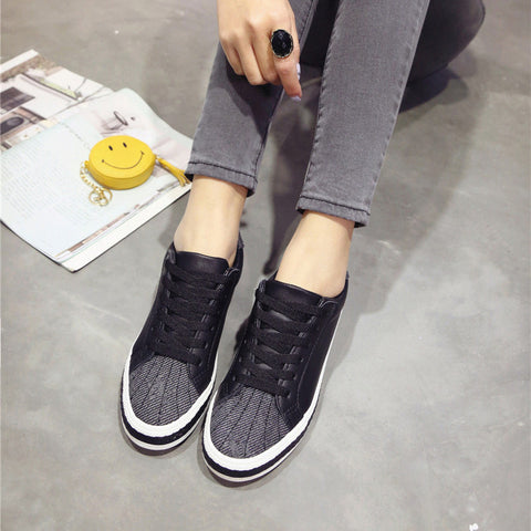 PU Mixed Color Round Toe Flat Heel Lace Up Sneakers 7 Black