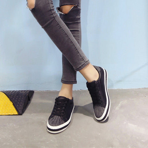 PU Mixed Color Round Toe Flat Heel Lace Up Sneakers 8 Black