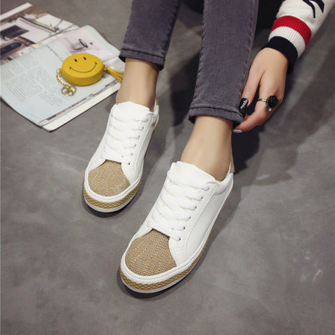 PU Mixed Color Round Toe Flat Heel Lace Up Sneakers 8 White