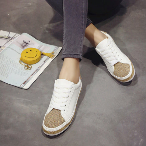 PU Mixed Color Round Toe Flat Heel Lace Up Sneakers 7 White