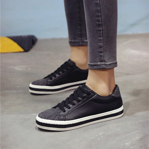 PU Mixed Color Round Toe Flat Heel Lace Up Sneakers 7.5 Black