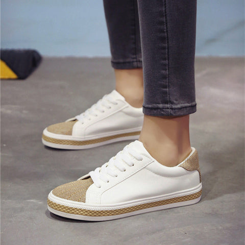 PU Mixed Color Round Toe Flat Heel Lace Up Sneakers 7.5 White