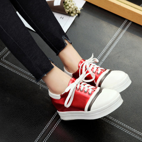 PU Mixed Color Round Toe Hidden Heel Lace Up Platform Sneakers 8.5 Red