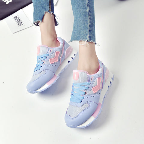 PU Mixed Color Round Toe Low Heel Lace Up Mesh Sneakers 7.5 Purple