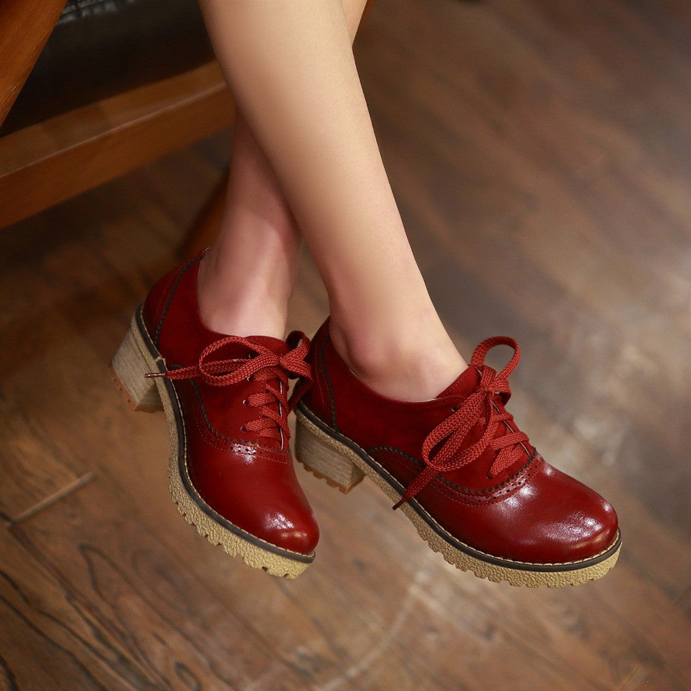 PU Mixed Color Round Toe Middle Block Heel Lace Up Brogues 9.5 Red