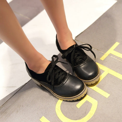 PU Mixed Color Round Toe Middle Block Heel Lace Up Brogues 9.5 Black