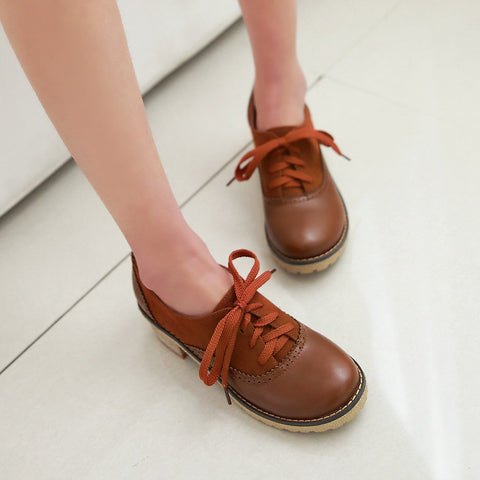 PU Mixed Color Round Toe Middle Block Heel Lace Up Brogues 9.5 Brown