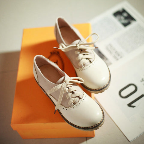 PU Mixed Color Round Toe Middle Block Heel Lace Up Brogues 9.5 Beige