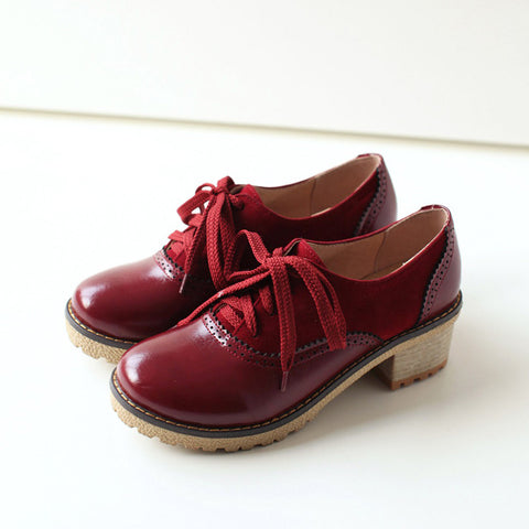 PU Mixed Color Round Toe Middle Block Heel Lace Up Brogues 9 Red