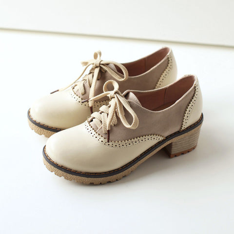 PU Mixed Color Round Toe Middle Block Heel Lace Up Brogues 9 Beige