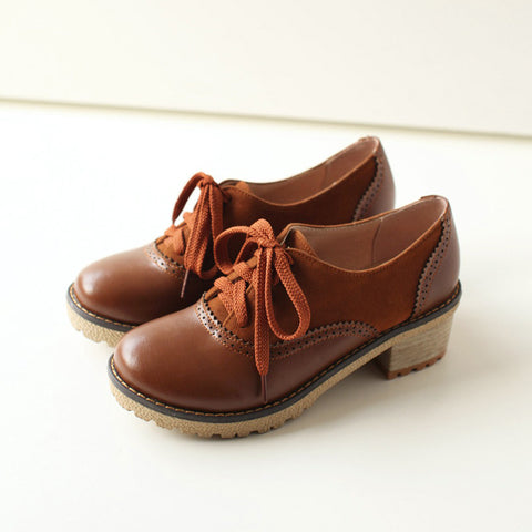 PU Mixed Color Round Toe Middle Block Heel Lace Up Brogues 9 Brown
