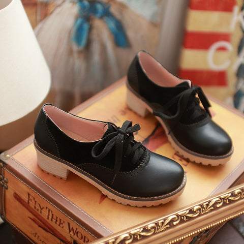 PU Mixed Color Round Toe Middle Block Heel Lace Up Brogues 9 Black