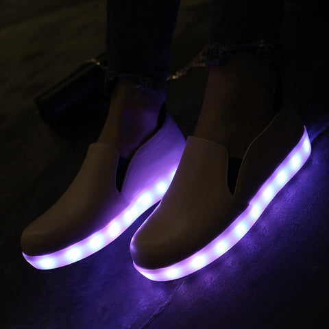 PU Round Toe Flat Heel 7 Colors Led Light Loafers 9.5 Pink