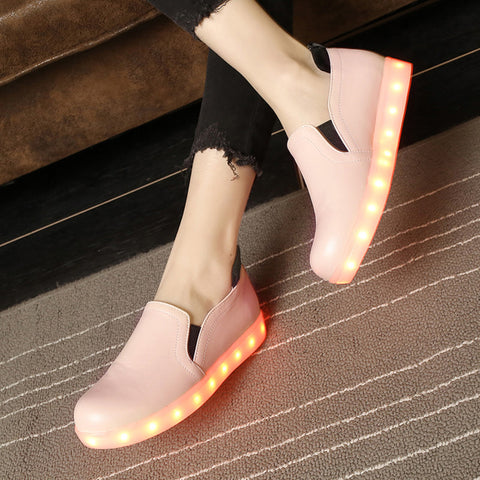 PU Round Toe Flat Heel 7 Colors Led Light Loafers 8.5 Pink