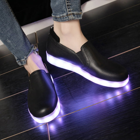 PU Round Toe Flat Heel 7 Colors Led Light Loafers 9 Black