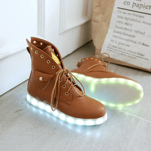 PU Mixed Color Round Toe Flat Heel Lace Up Side Pocket 7 Colors Led Light Star Sneakers 9.5 Brown