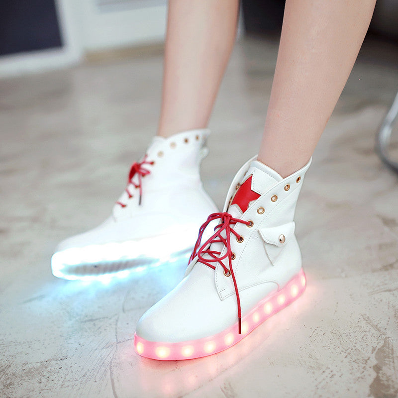 PU Mixed Color Round Toe Flat Heel Lace Up Side Pocket 7 Colors Led Light Star Sneakers 8.5 White