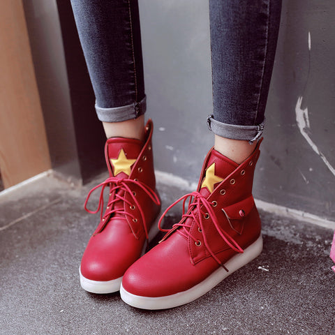 PU Mixed Color Round Toe Flat Heel Lace Up Side Pocket 7 Colors Led Light Star Sneakers 9 Red