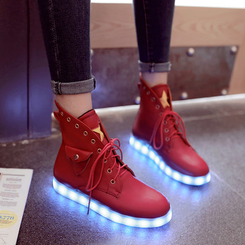 PU Mixed Color Round Toe Flat Heel Lace Up Side Pocket 7 Colors Led Light Star Sneakers 8.5 Red