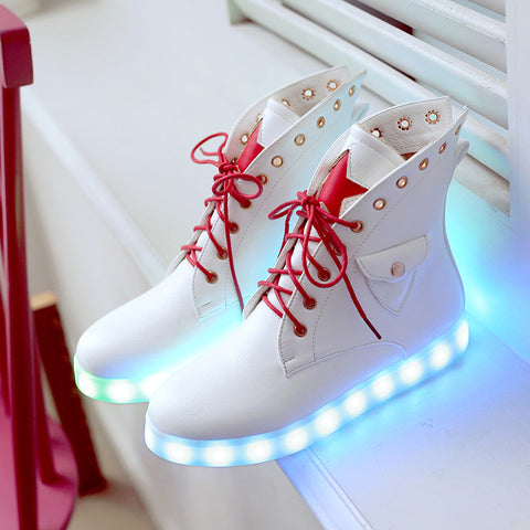 PU Mixed Color Round Toe Flat Heel Lace Up Side Pocket 7 Colors Led Light Star Sneakers 9.5 White