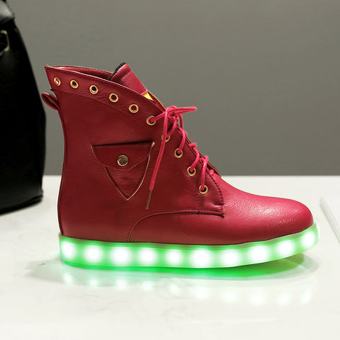 PU Mixed Color Round Toe Flat Heel Lace Up Side Pocket 7 Colors Led Light Star Sneakers 9.5 Red
